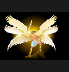 michael archangel with six wings holding vector image