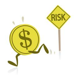 Money running away from risk vector