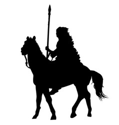 Native american indian silhouette riding a horse vector