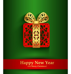 New Year greeting card with silhouette of vector image