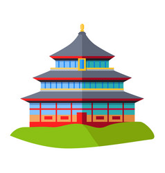 Oriental building isolated on green grass on white vector