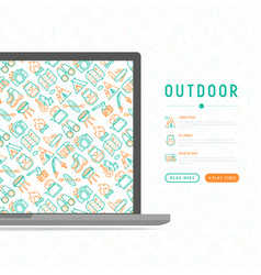 Outdoor concept with thin line icons vector