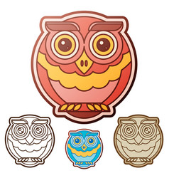 Owl flat set vector