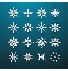 Paper Christmas Star Set on Blue Background vector image vector image