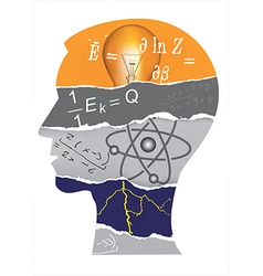 Physics student head slilhouette vector image