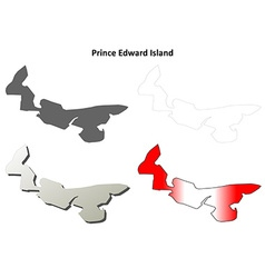 Prince Edward Island blank outline map set vector image