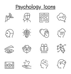 psychology icons set in thin line style vector image