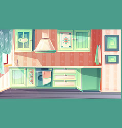 Retro kitchen interior provence background vector