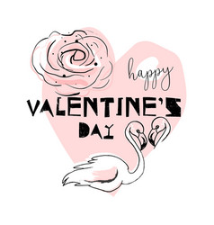 romantic hand drawn cartoon with pink vector image