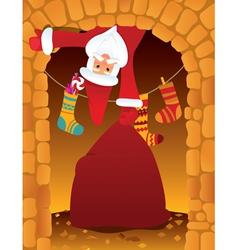santa claus and chimney vector image