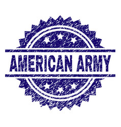 Scratched textured american army stamp seal vector