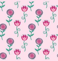 seamless flower pattern in folk art style vector image