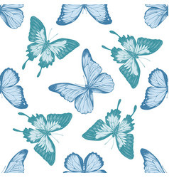 Seamless pattern with hand drawn pastel papilio vector