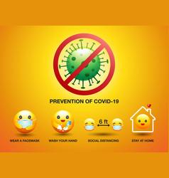Set icon smiley prevention covid-19 sign vector