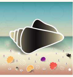 Set seashells starfishes and pebbles vector