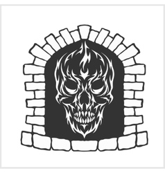 Skull with flames style vector