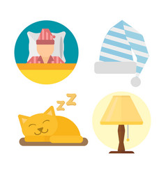 sleep icons lamp set vector image