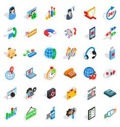 Smart net icons set isometric style vector