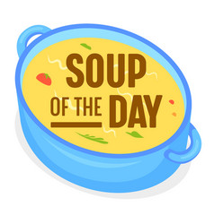 Soup day concept food sticker badge or vector