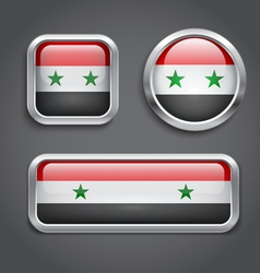 Syria flag glass buttons vector image