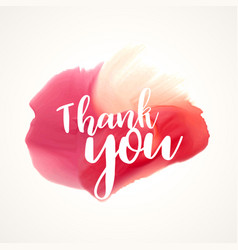 Thank you lettering on red paint or watercolor vector
