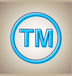 Trade mark sign sky blue icon with vector