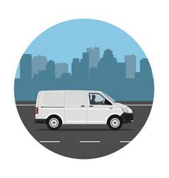 van over city background vector image