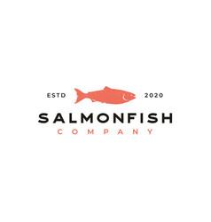 vintage salmon fish seafood logo design vector image
