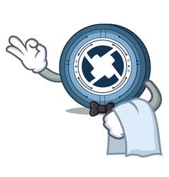 Waiter 0x coin mascot cartoon vector