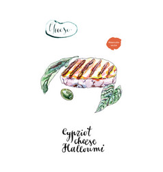Watercolor grilled cypriot halloumi cheese vector