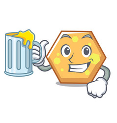 with juice hexagon mascot cartoon style vector image
