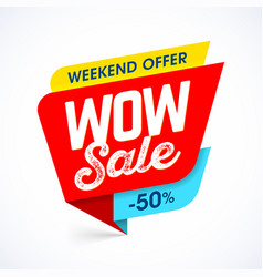 Wow super sale banner vector