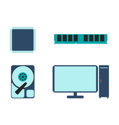 cpu ram hdd and computer icon vector image vector image