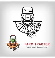 Farm tractor icon art line style Farmers market vector image