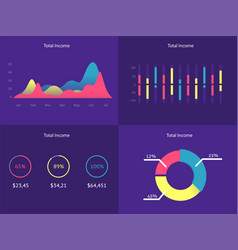 flat dashboard set of ui web infographic elements vector image