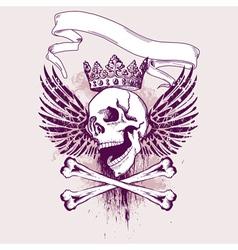 grunge skull apparel design vector image