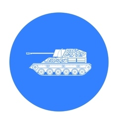 Military tank icon in black style isolated on vector image
