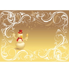 Ornate background with snowman vector image