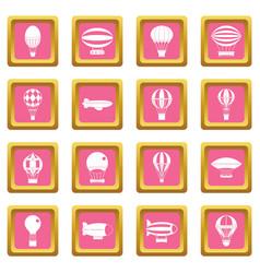 retro balloons aircraft icons pink vector image vector image