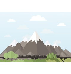 Train in the mountains vector image vector image