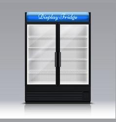empty freezer for beverages with glass door vector image vector image