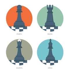 Flat chess figures Strategy concept background vector image