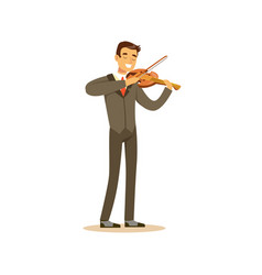 male musician wearing a classic suit playing vector image