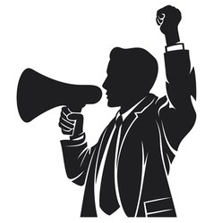 man speaking in megaphone vector image