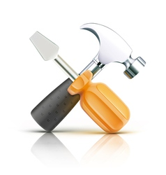 screwdriver and hammer vector image vector image