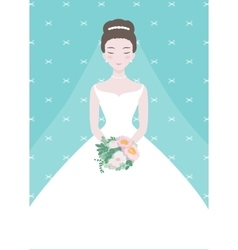 Beautiful bride with a flower bouquet vector image