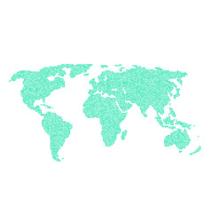 green world map from different points vector image vector image