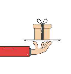 linear hand in suit holding gift box on dish vector image vector image