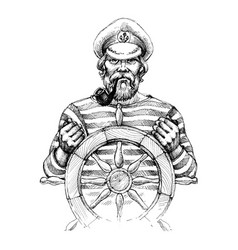 sailor at helm drawing vector image vector image