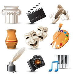 9 highly detailed arts icons vector image